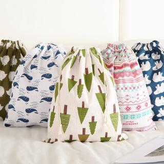 Túi dây rút vải cotton lanh nhỏ gọn họa tiết hoạt hình dễ thương