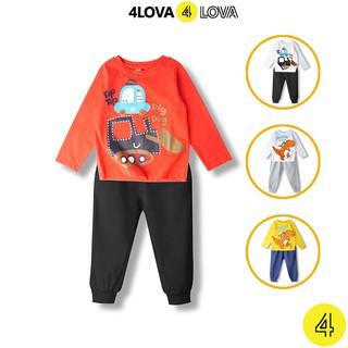 Bộ quần áo dài tay 4LOVA thun cotton in hoạt hình ngộ nghĩnh cho bé trai