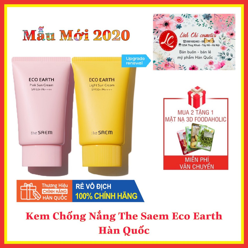 [AUTH - Sẵn] Kem Chống Nắng The SAME Eco Earth Pink Sun Cream (SPF 50+/PA)++++
