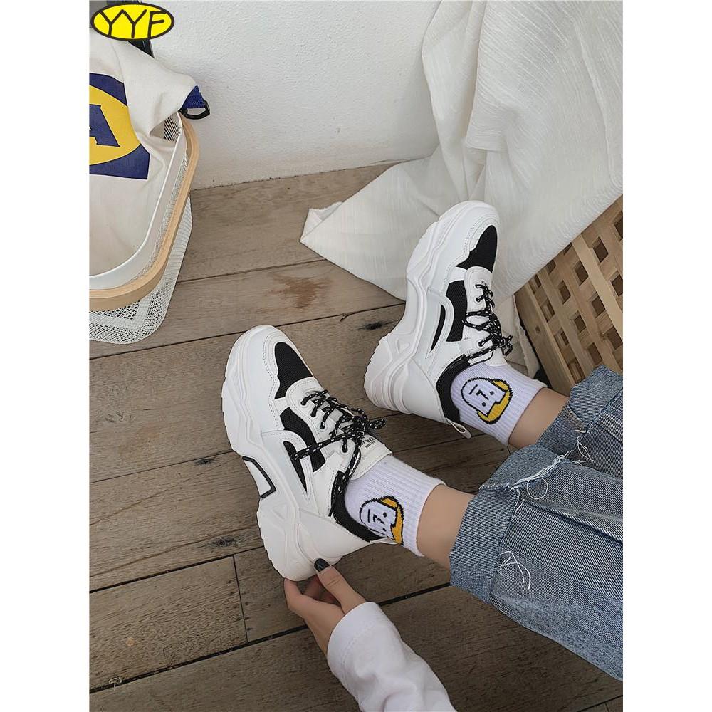 รองเท้าผู้หญิงที่มีคุณภาพสูง, รองเท้ากีฬา, ระบายอากาศของผู้หญิง, ใหม่, สูง, รองเท้าสีขาว, ป่า, แพลตฟอร์มหนา soled, รองเท