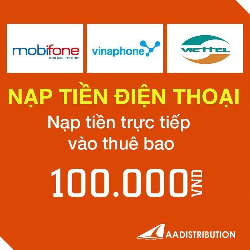 Nạp tiền điện thoại viettel 100.000