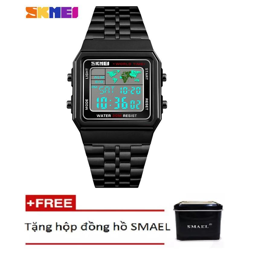 Đồng hồ điện tử thời trang nam - nữ dây hợp kim Skmei PKHRSK007 + Tặng hộp đồng hồ cao cấp