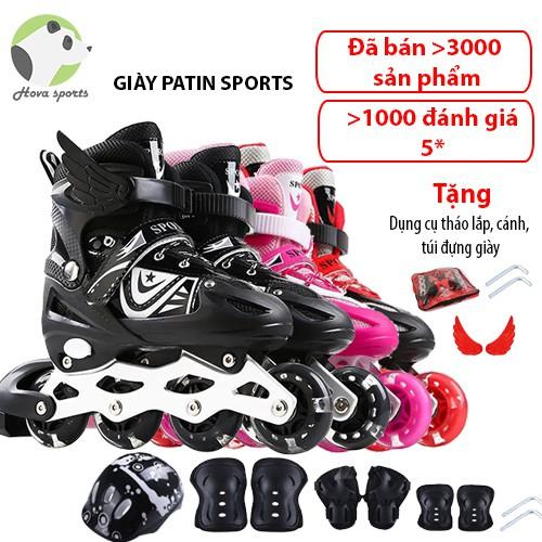 Giày patin trượt Sport cao cấp dành cho trẻ em người lớn có thể điều chỉnh to nhỏ batin batanh tặng cánh