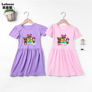 Cô gái LOL Surprise Váy ngắn tay trẻ em Váy công chúa cotton mềm mại A-Line