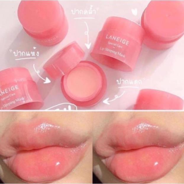 Dưỡng môi hồng 100%-Hàng Auth . Ủ môi lanneige Hàn Quốc size mini