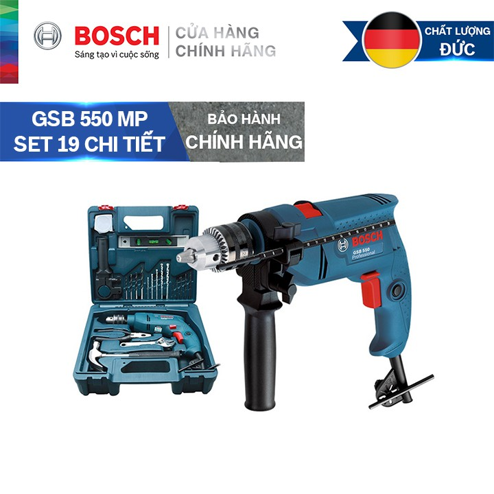 Bộ máy khoan động lực Bosch GSB 550 MP SET kèm phụ kiện 19 chi tiết