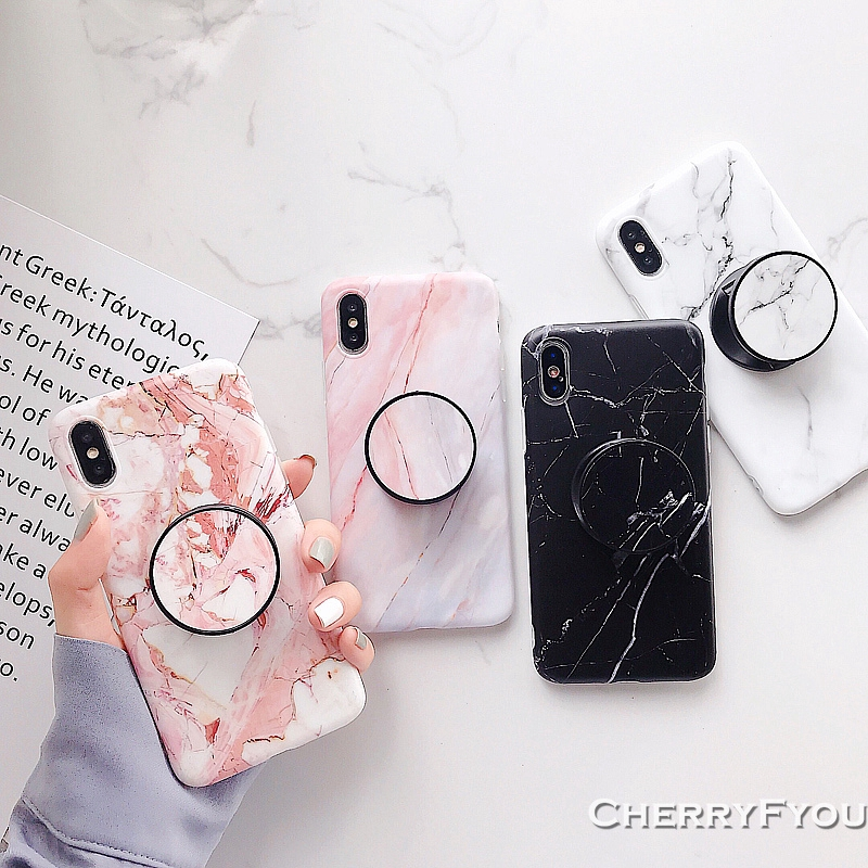 Simple Marble Coral Texture Soft IMD Case for IPhone 6s 7 8 Plus Xs Max XR XS