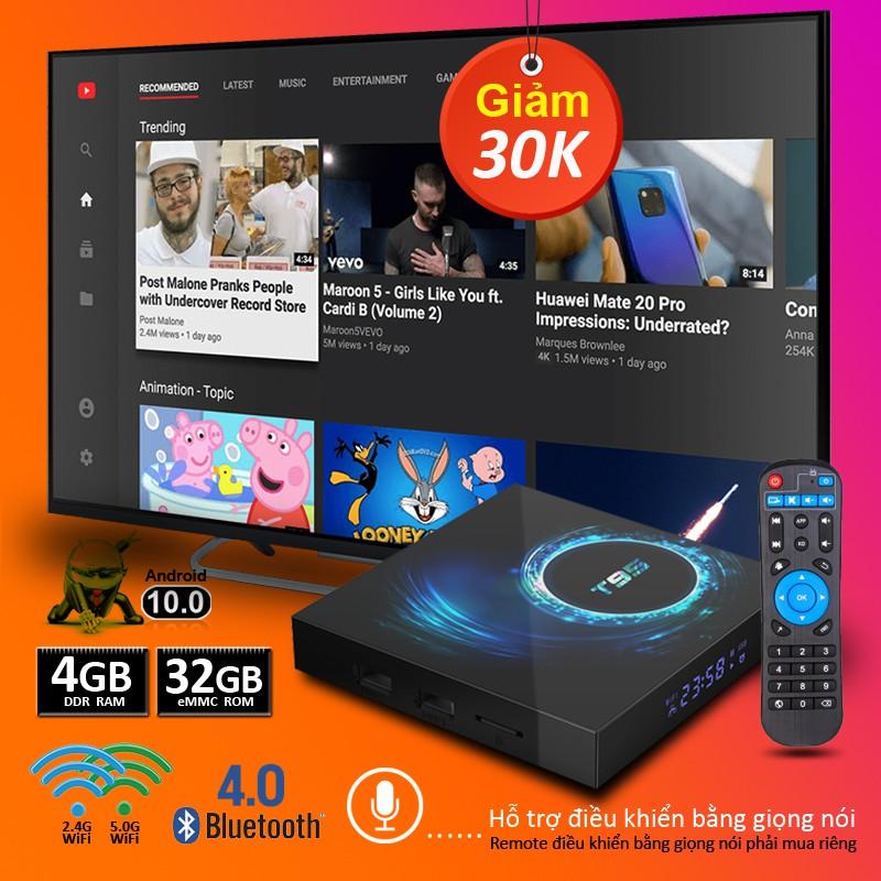 Android TV Box Android 10, RAM 4G, 32G ROM, wifi băng tần kép, bluetooth 5.0, độ phân giải 6K, bảo hành 12 tháng T95