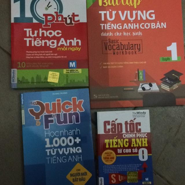 Sách - Combo 4 cuốn,quick fun 1000 từ vựng, bài tập từ vựng tiếng anh, 10 phút cấp tốc tiếng anh, cấ
