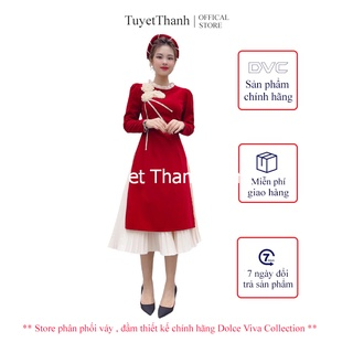 Set áo dài nhung đỏ cách tân hoa 3D - Váy , Đầm Thiết Kế Chính Hãng DVC thumbnail