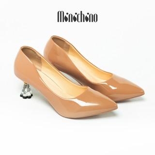 Giày cao gót nữ cao 5cm MINICHINO gót hoa, mũi nhọn thời trang da bóng màu nâu TC016 thumbnail