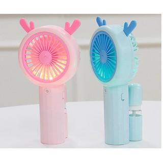 Quạt Phun nước cầm tay mini - Quạt  tích điện có đèn đổi màu sắc-Quạt sạc USB