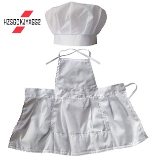 -Infant Baby Chef Apron Set Photography Props, Chef Uni Baby Uniform Costume Photo Props Outfits White