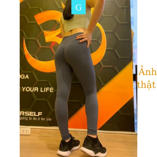 Quần legging độn chun nâng mông tập gym yoga cạp cao thể thao dáng dài vải dệt GYGA