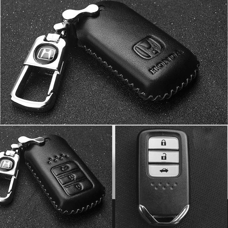 Bao da móc chìa khóa ô tô HONDA 3 nút bấm cao cấp (kín)