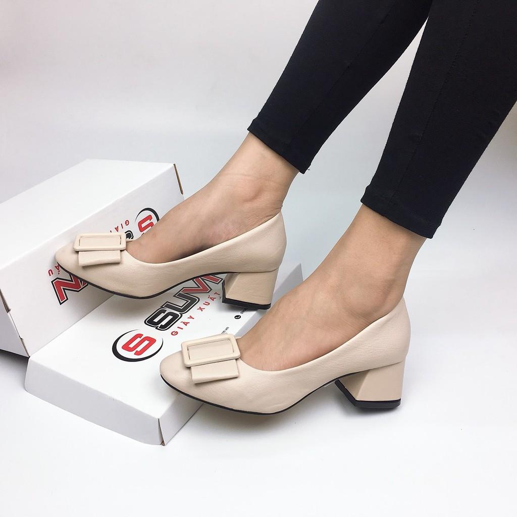 [Ảnh thật]  Giày cao gót 5cm mũi tròn nơ vuông da mềm VNXK SUVN