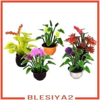[BLESIYA2] 5 lot Mini Dollhouse Miniature Flower Pot Plant Model Garden Home Decor