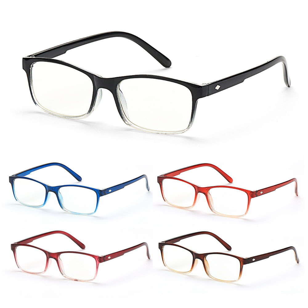 MOILY Fashion Gradient Reading Glasses Ultralight Readers Blue Light Blocking Vision Care Diopter +1.0~4.0 Spring Hinge Eyewear Presbyopic Glasses/Multicolor