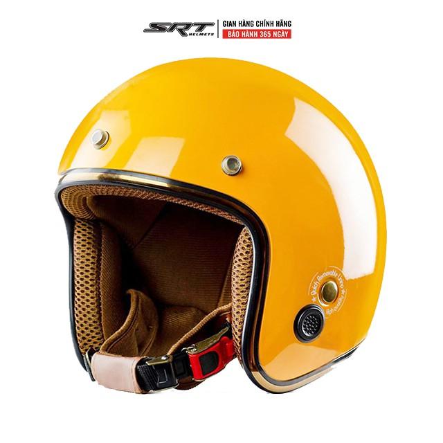 Mũ bảo hiểm 3/4 SRT RUBY, viền đồng - lót nâu thông gió cao cấp -  BH 12 tháng