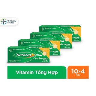 """[Mã FMCG60 -10% đơn 250K]Combo 4 hộp Viên sủi bổ sung Vitamin Berocca Performance Mango 10 Viên/hộp giá chỉ còn <strong class=""""price"""">29.700.000.000đ</strong>"""