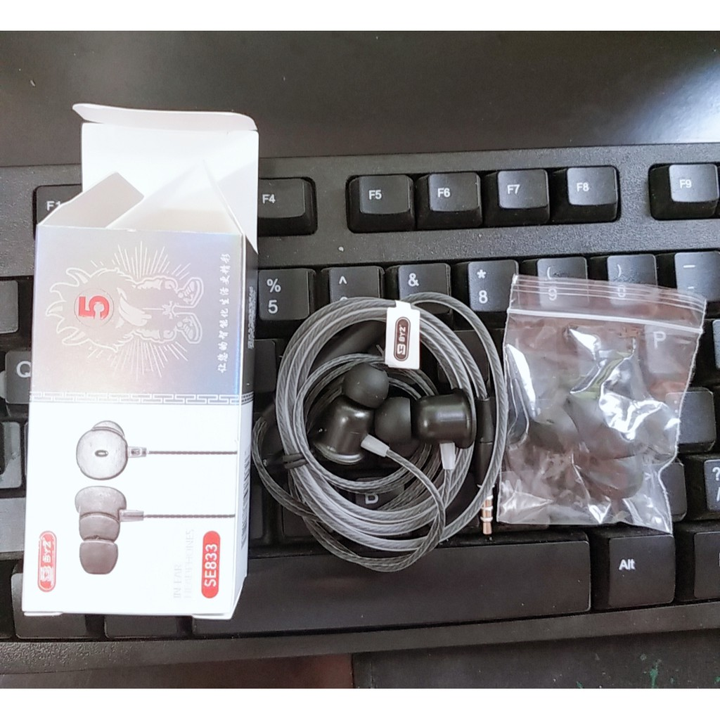 Tai nghe BYZ SE833 stereo Hifi Bass, Tai nghe bằng nhựa cho iphone và Android kèm 4 nút đệm