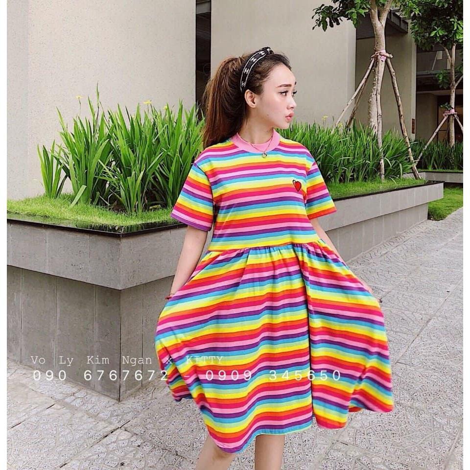 Đầm váy xòe 7 sắc màu