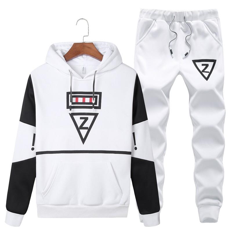 Wandergo 2019 Casual set men hooded tracksuit track hidden suspenders Black