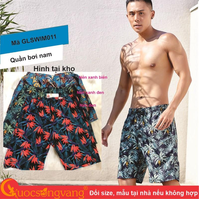 Quần bơi nam phom rộng quần đi biển nam eo thun GLSWIM011 Cuocsongvang