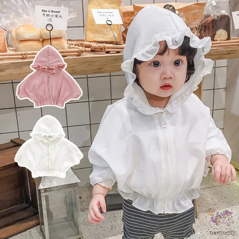 Áo khoác có mũ trùm đầu chống nắng thiết kế khóa kéo thời trang xuân hè cho bé gái