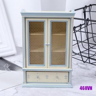 [DOU]1:12 Dollhouse Miniature Kitchen Furniture White Cupboards Display cabinet