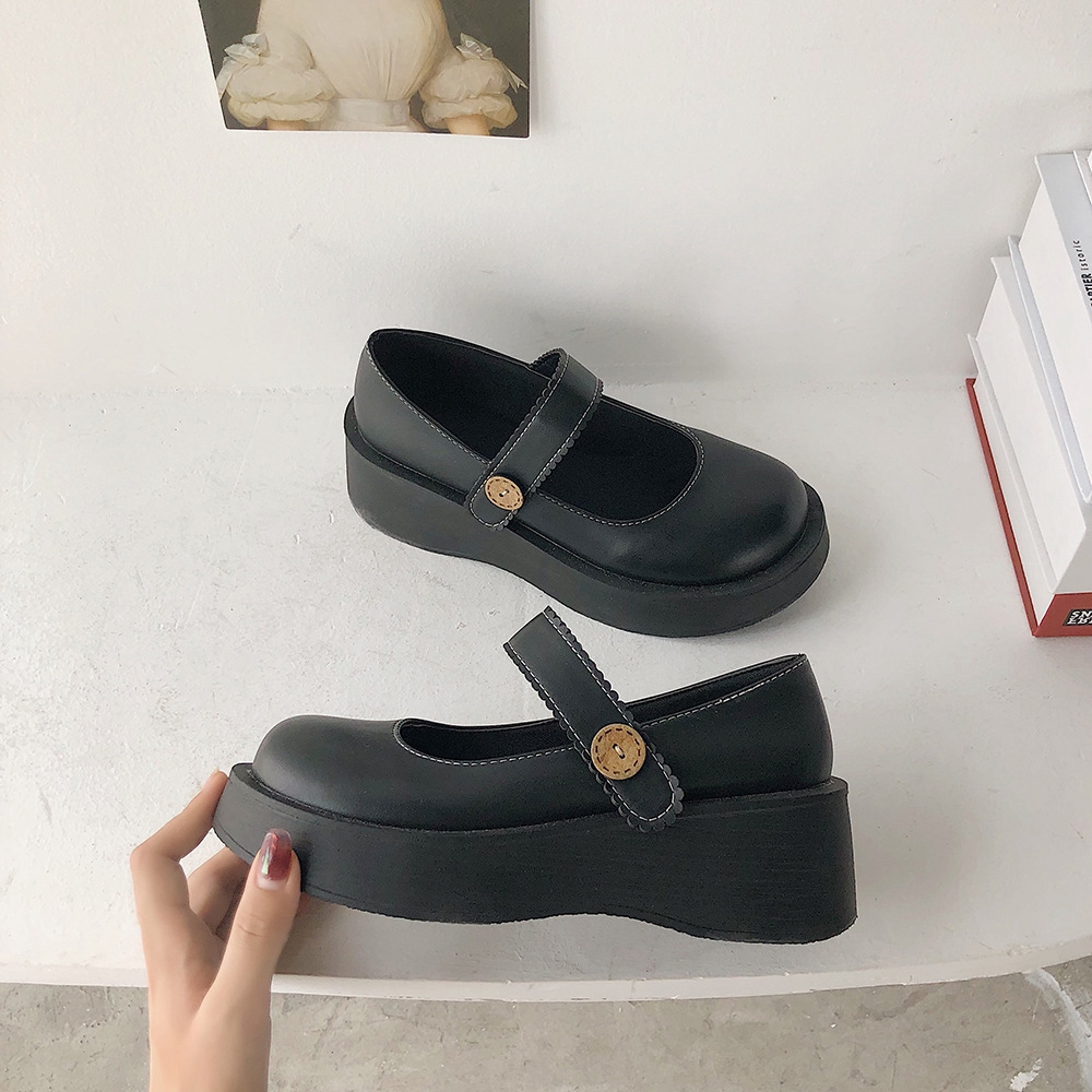Giày da mũi tròn phong cách nhật bản dành cho nữ