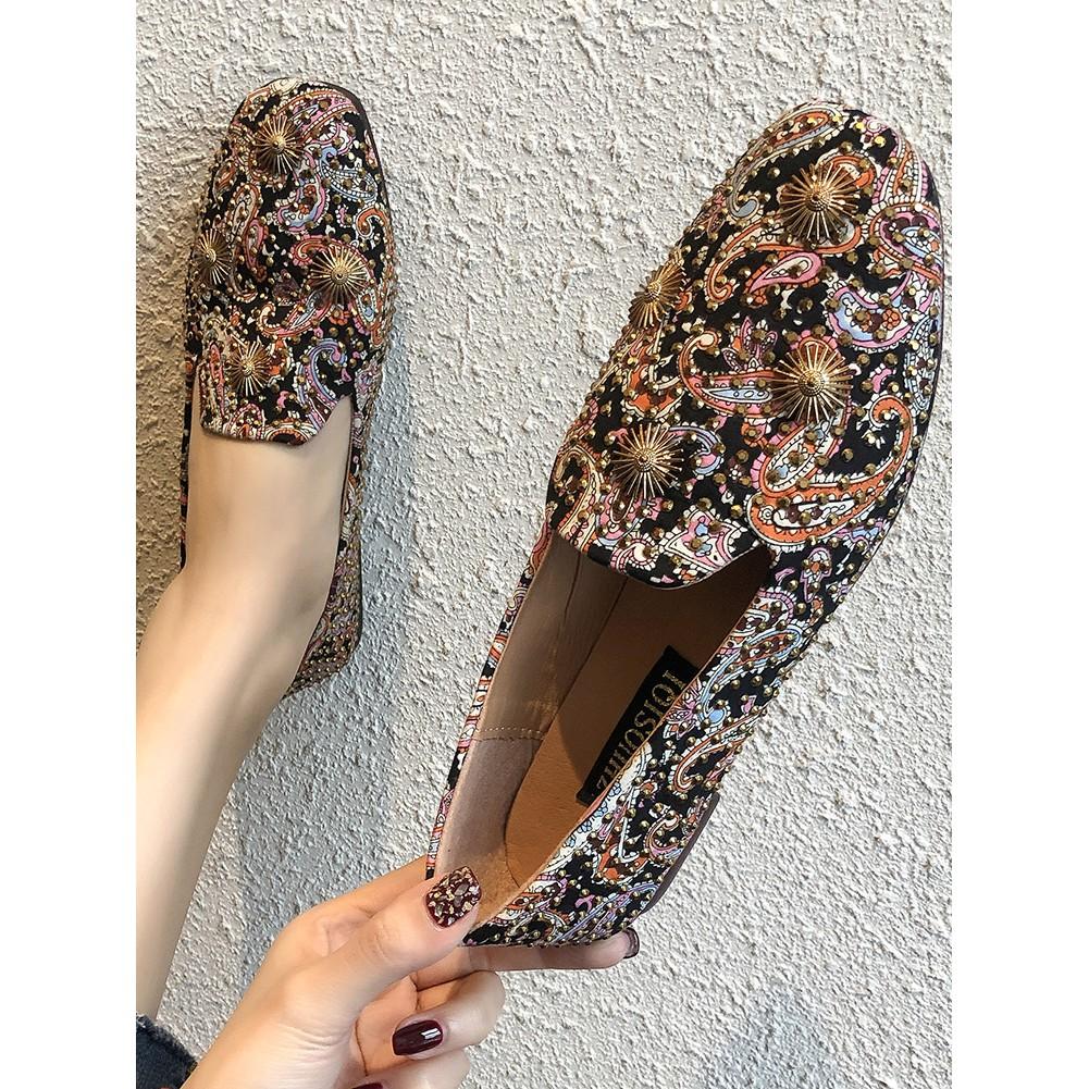 Retro square head flat shoes female spring 2019 new Korean v