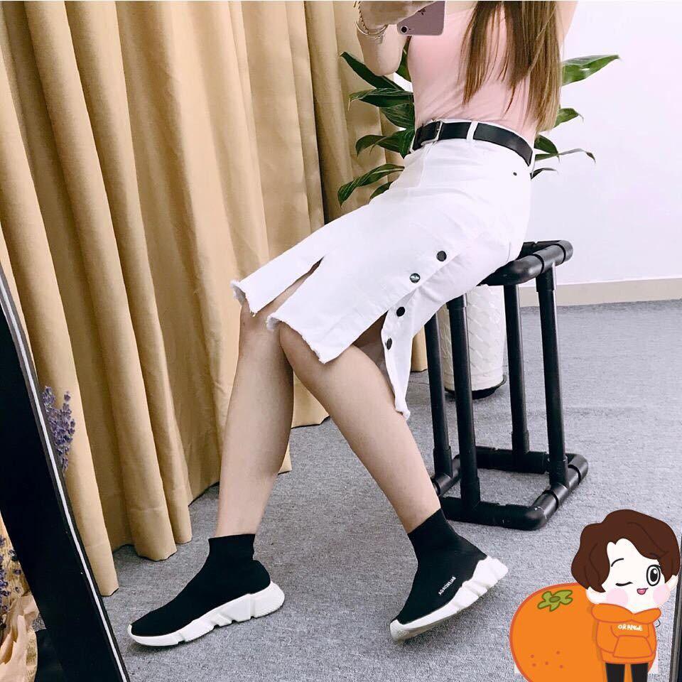 Chân váy jean dài nút hông