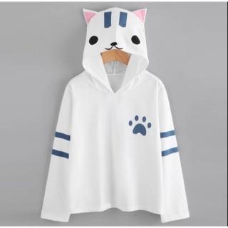 Áo hoodie nữ in hình mèo đáng yêu