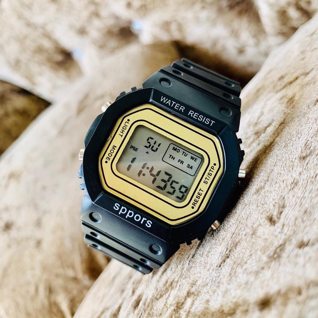 Đồng hồ điện tử nam nữ Sppors Đen mặt vàng cực đẹp