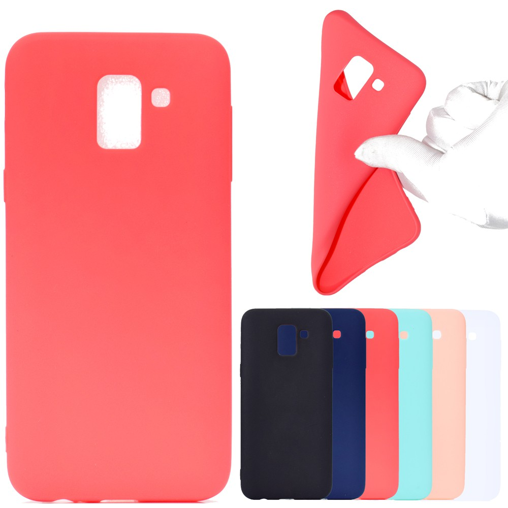 Soft TPU Casing Samsung Galaxy J4 J6 Plus J8 2018 M10 M20 M30 Solid Simple Candy Color Slim Back Case Full Cover | TT