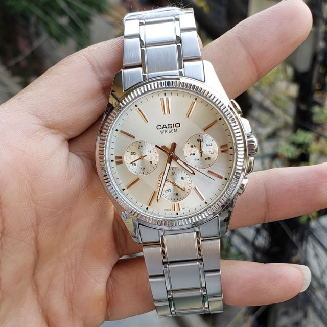 Đồng hồ nam CASIO chính hãng MTP-1375, dây kim loại