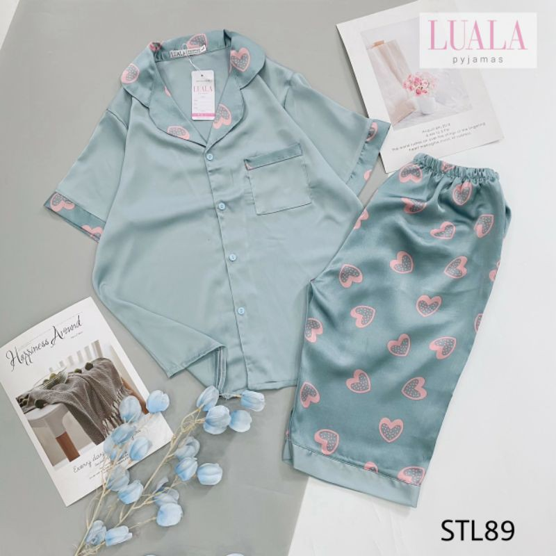 Pijama Lụa Satin Lửng Hàng Đẹp ( có size, Ảnh chụp thật)