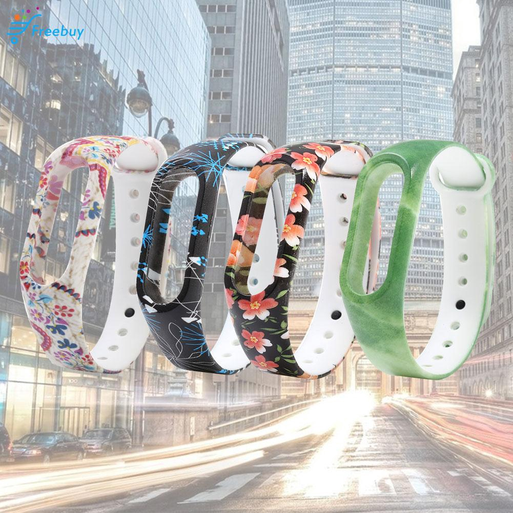 Vòng Đeo Tay Nhựa Tpu Họa Tiết Hoa Cho Xiaomi Miband Mi Band 2