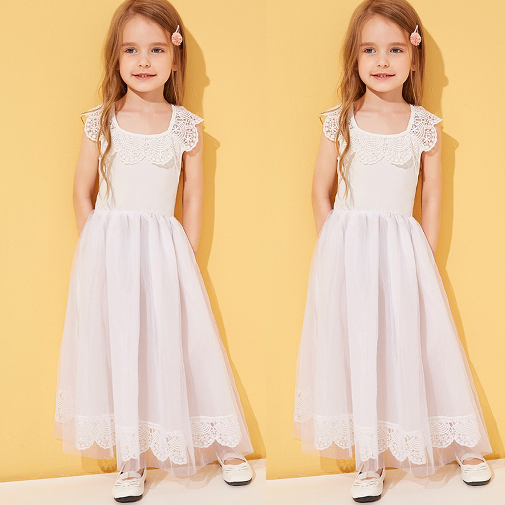 Toddler Baby Kids Girls Lace Patchwork Solid Tulle Party Princess Dress Clothes