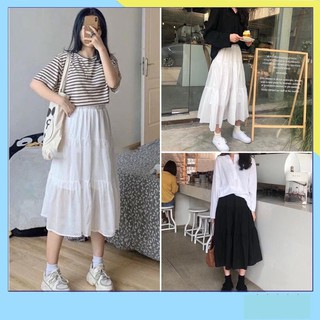 Chân váy xòe 3 tầng ulzzang 2 màu basic đen trắng siêu xinh thumbnail