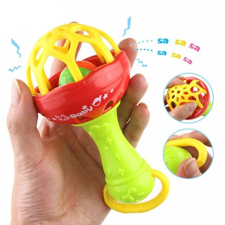 ❦mmakid❦☆Baby Kids Rattles Hand Bell Sticks Cartoon Toys Cute Cartoon Animal Ring Bell