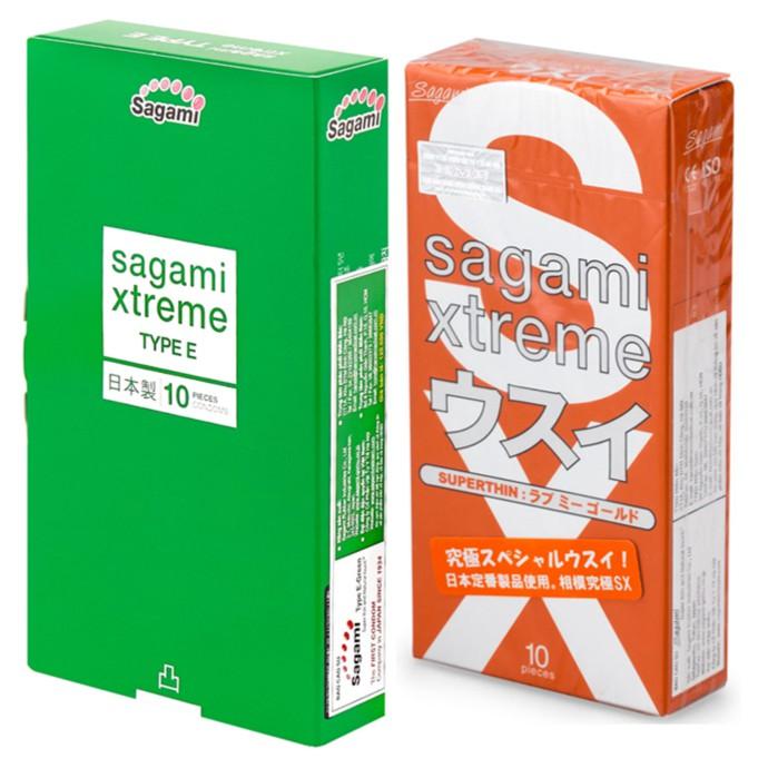 [ SALE SẬP SÀN ] Bộ Bao cao su Gân-Gai-Thắt Sagami Xtreme Green và Bao cao su Siêu mỏng Sagami Love