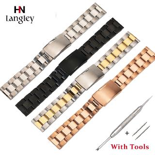 16 18 20 22 24 26 28 30 Big Size Solid Three Beads Flat Head Full Stainless Steel Wristwatch Band