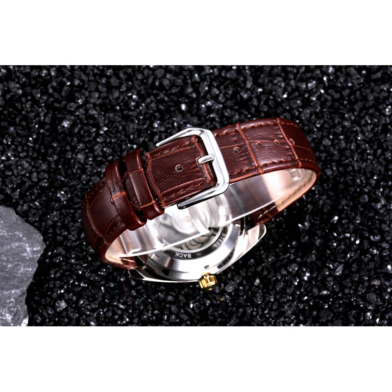 Đồng hồ nam Tevise 795A máy cơ dây da chạy full kim (Mặt trắng viền vàng)