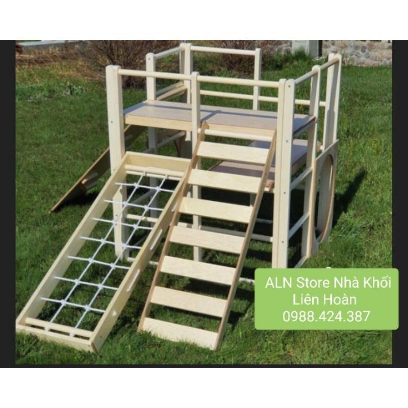 Bộ khung xà đu đa năng cho bé bằng gỗ cao cấp cho bé 0 đến 7 tuổi.