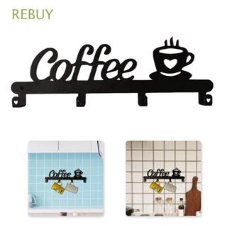 Giá đỡ cốc cà phê gắn tường bằng kim loại kèm ốc vít 4 móc trang trí nhà cửa