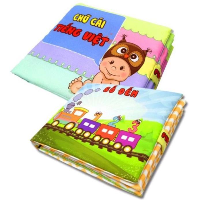 [FREESHIP-EXTRA] ComBo 2 Sách Vải Giáo dục mầm non-Chủ đề Số đếm và Chữ cái tiếng Việt-làm quen mặt chữ