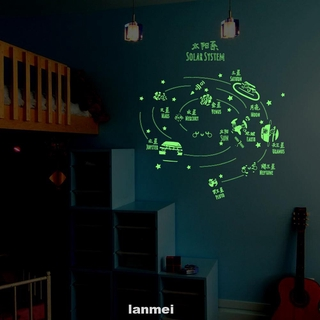 Backgound Star Solar System Decorative Bedroom Night Lights Cartoon Easy Install Wall Sticker