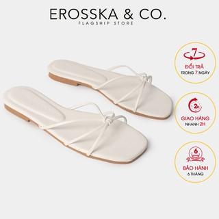 Dép đi biển thời trang Erosska 2021 phối dây quai mảnh màu trắng - DE037